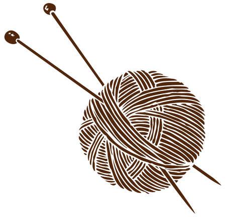 Strickendes Logo. Ball und Nadeln. Isoliert auf weißem Hintergrund