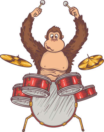 Monkey with Drums. Isolated on a White