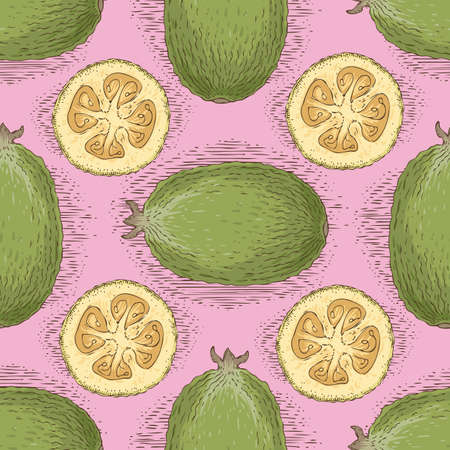 Seamless Vector Pattern with Ripe Whole Feijoa Illustration