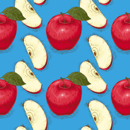 Seamless Pattern with Ripe Red Apples with Leaves and Slices on a Blue Background