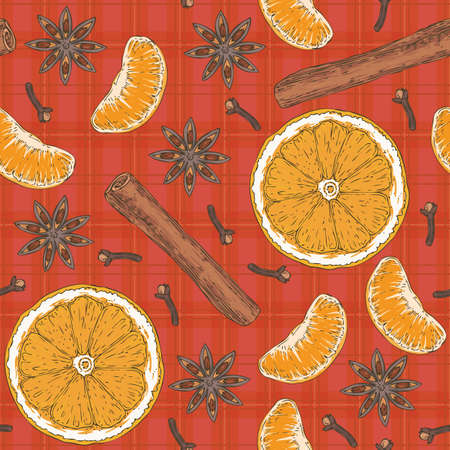 Seamless vector Pattern with Orange Slices, Clove and Cinnamon Stick on a Red Background