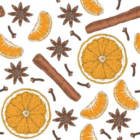 Seamless Pattern. Orange Slices, Tangerine, Spices