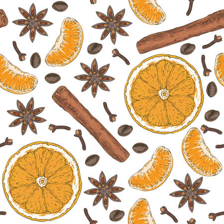 A seamless vector pattern with orange slices, clove and cinnamon stick, tangerine, coffee beans on a white background.