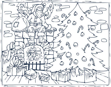 Christmas coloring book page.