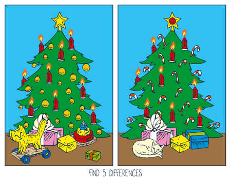 guess: Christmas Game for Children. Find Differences. Christmas Tree and Gifts in the Room