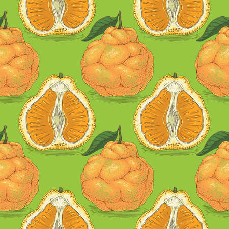 Seamless pattern with orange tangelo with leaf on a green background.