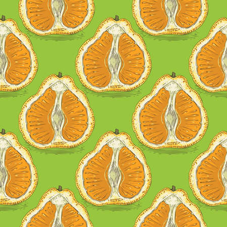 Seamless pattern with orange tangelo on a green background. Ilustração