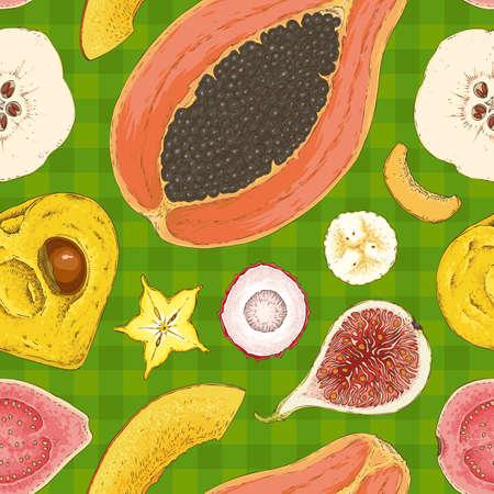Seamless Pattern with Ripe Fruits Mix Illustration