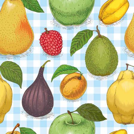 Seamless Pattern with Ripe Fruits Mix Stock Photo