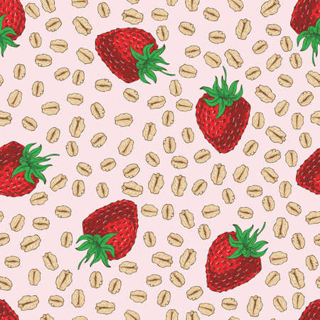 Seamless Pattern with Strawberry and Oat Flakes Vectores