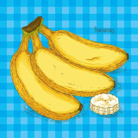 Bunch of Three Ripe Yellow Banana and Banana Slice Isolated on a Blue Plaid Background