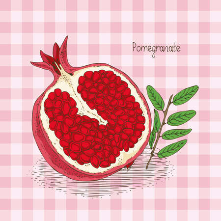 Card with Ripe Red Pomegranate on a Pink Plaid Background