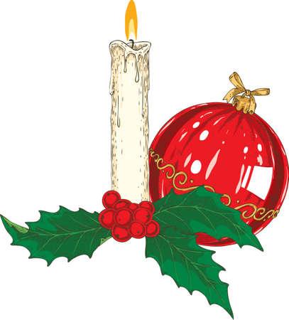 Bougie de Noël en forme de chandelle blanche brûlante avec gui et boule de verre rouge. Isolé sur fond blanc Banque d'images - 90999003