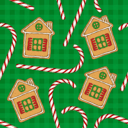 Pattern with Christmas Candy Cane and Gingerbread House. Illustration