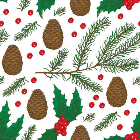 Seamless Christmas Pattern with Brown Pine Cone, Fir Branch and Mistletoe on a White Background
