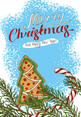 Christmas Postcard with Fir Branch, Candy Cane and Gingerbread Tree