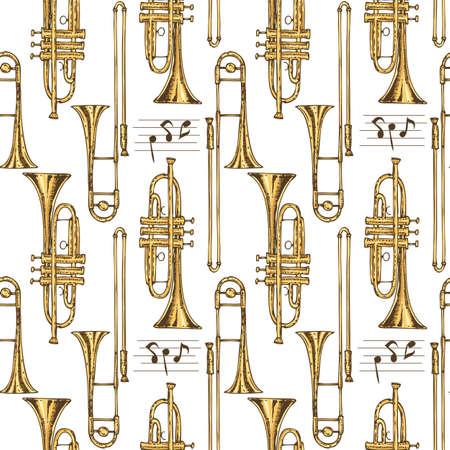 Seamless Vector Pattern. Brass Trumpets and Trombones and Notes on a White Background