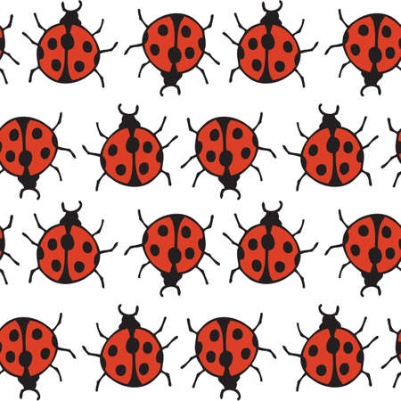 Seamless Pattern with Red Ladybugs