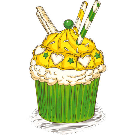 Cupcake with Waffles and Yellow, White and Green Cream and Decoration on a White Background