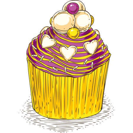 Cupcake with Color Butter Cream and a heart shaped  confectioner decoration