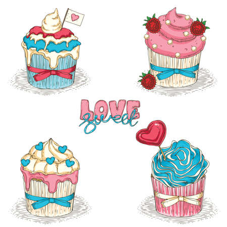 Collection of Valentine Day Cupcakes Isolated on a White