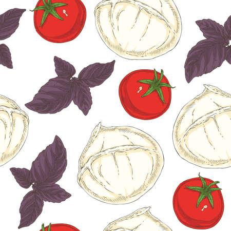 Seamless pattern with Buffalo Mozzarella, Tomatoes and Purple Basil on a White Background