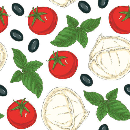 Seamless pattern with Buffalo Mozzarella, Tomatoes. Black Olives and Green Basil on a White Background Illustration