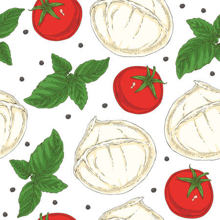 Seamless Pattern with Buffalo Mozzarella, Tomatoes, Black Peppercorns and Green Basil on a White Background Ilustração