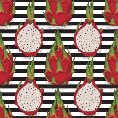 Seamless Pattern with Dragon Fruit or Pitaya Whole and Cross Section on a Striped Black and White Background