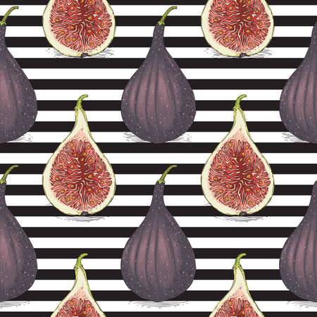 Seamless Vector Pattern with Ripe Whole Fig on a Striped Black and White Background