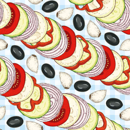 Seamless Vector Pattern with Ratatouille.