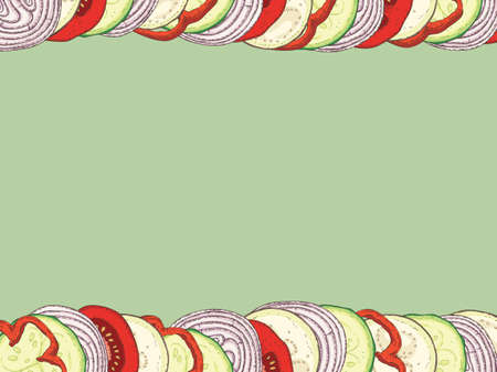 Card Template. Ratatouille Border and Blank Area at the Center on a Green Background. Hand Drawn Illustration Vettoriali