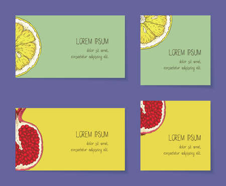 Fruit Business Cards Template Collection Çizim
