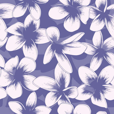 Violet Floral Seamless Pattern with Frangipani. Vector Illustration Illustration