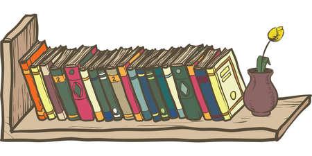 Row of Books on Shelf. Isolated Object Illustration