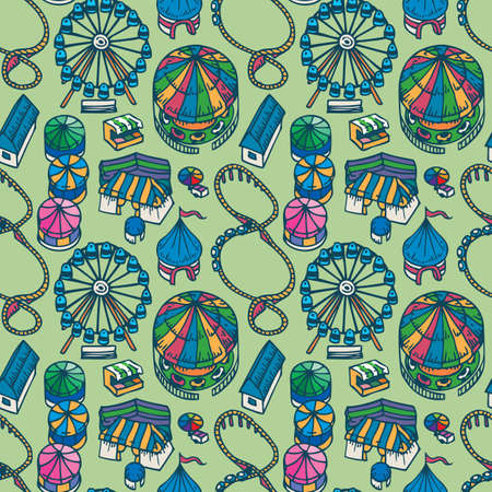 Fair Seamless Pattern on a Green Background