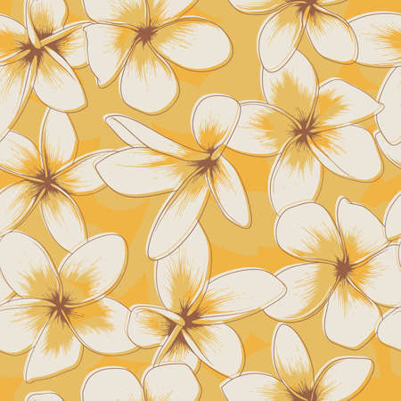 Yellow Floral Seamless Pattern with Frangipani. Vector Illustration