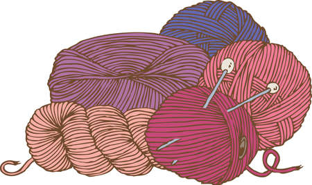 Five Hanks of Yarn and Needles.Violet, Magenta, Purple and Pink Isolated Composition Illustration