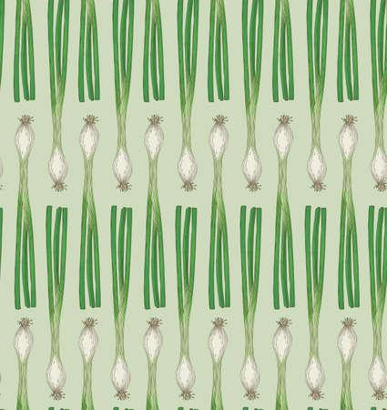 Fresh Scallion Green Onion Seamless Pattern  イラスト・ベクター素材