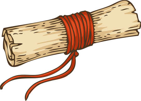 Vintage Scroll with Red Rope Illustration