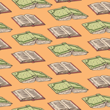 Seamless Vector Pattern with Books on an Orange Background