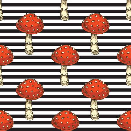 Seamless Pattern. Red Amanita Fly Agaric Mushroom