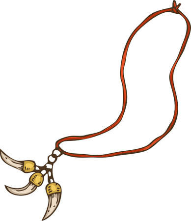 Magic Amulet. Necklace with Teeth. Isolated on White. Hand Drawn Illustration