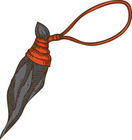 Magic Amulet. Necklace with Black Stone. Isolated on White. Hand Drawn Illustration