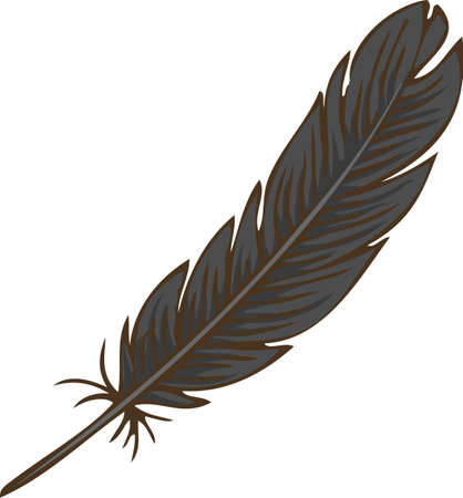 Black Bird Feather. Hand Drawn. Isolated on White background.
