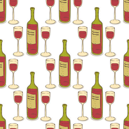 Wine Glasses and Wine Bottles Seamless Pattern. Stemware and Wine on a White Background Illustration