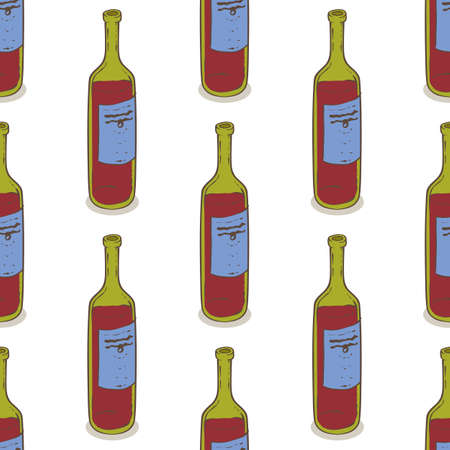 Red Wine Bottles Seamless Pattern. Isolated on a White Background