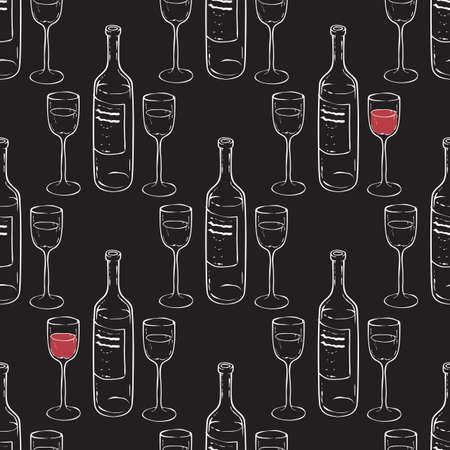 Wine Glasses and Wine Bottles Seamless Pattern.