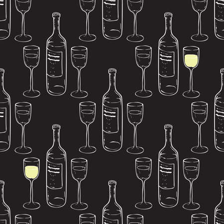 Wine Glasses and Bottles Seamless Pattern.