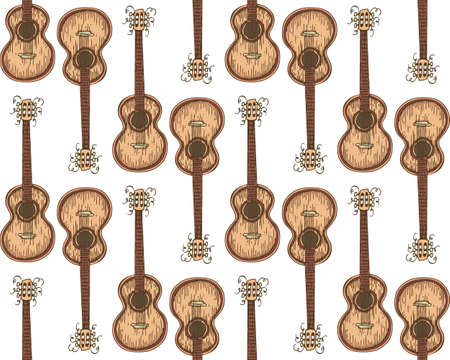 Seamless Vector Pattern with Wooden Acoustic Guitar on a White Background